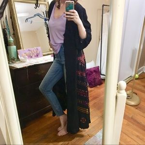 Embroidered maxi duster NWOT